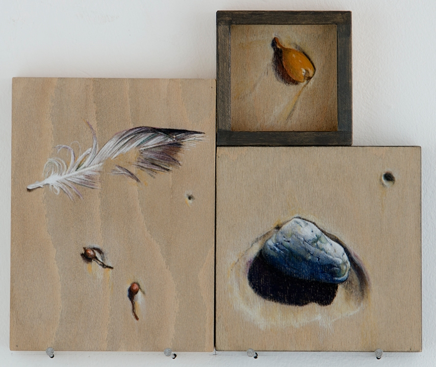 'signs of trouble (bird feather and pumice)' 2015 | pastel pencil, powdered graphite and ink on three wood panels | 25 x 30 cm | SOLD