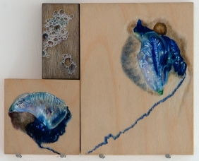 'signs of trouble (blue bottles)' 2015 | pastel pencil, powdered graphite and ink on three wood panels | 20 x 25 cm | SOLD