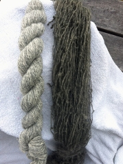 original yarn colour and first skein dyed